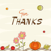 Thanksgiving day celebration with stylish card. — Vettoriale Stock