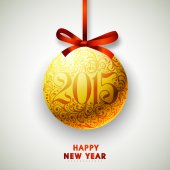 Happy New Year 2015 celebration with hanging ball. — Stockvektor