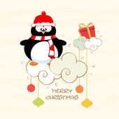 Poster and banner for Merry Christmas with penguine. — Stock Vector
