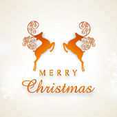Poster and banner for Merry Christmas with reindeer. — Cтоковый вектор