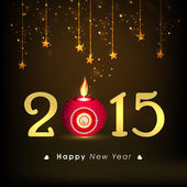 Happy New Year 2015 celebration with stylish text and lit lamp. — Stock vektor