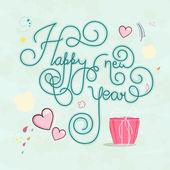Szczęśliwego nowego roku plakat lub ulotki z tekstem stylowe. — Wektor stockowy