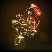 Happy New Year stylish poster or banner. — Stok Vektör