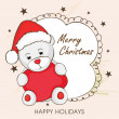 Merry Christmas celebration greeting card with cartoon of Santa. — Stock Vector #58794861