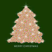 Celebration of Merry Christmas with shiny x-mas tree. — Stock Vector