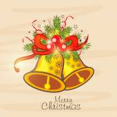 Merry Christmas celebration poster with jingle bell. — Stock Vector