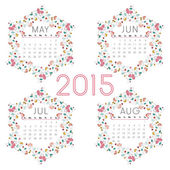 2015 Year calendar of (May to August). — Stock Vector