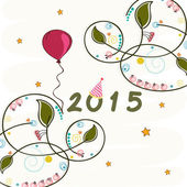 Happy New Year 2015 poster with balloon and decoration. — Stock Vector