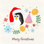 Merry Christmas celebration with penguin. — Stock Vector