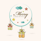 Merry Christmas celebration concept with stylish text and hangin — Stock Vector