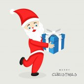 Santa Claus with gift box for Merry Christmas celebration. — Vetor de Stock
