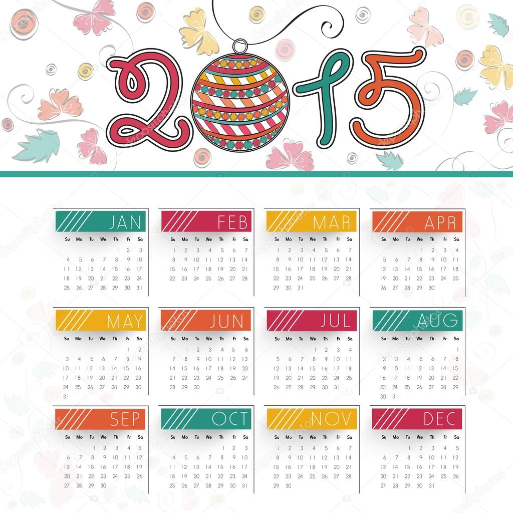 Year Calendar Design : Beatiful year calendar design — stock vector
