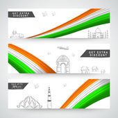 Web header or banner set for Republic Day. — Stock Vector