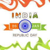 Indian Repulic Day celebration poster design with ashoka wheel. — Vector de stock