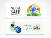 Website header or banner set design for Indian Republic Day. — Stock Vector
