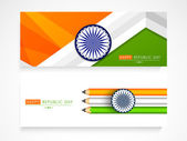 Indian Republic Day celebration website header or banner set. — Stock Vector
