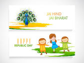 Web header or banner set for Indian Republic Day celebration. — Stock Vector