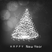 Happy New Year celebration with X-mas Tree. — Vector de stock