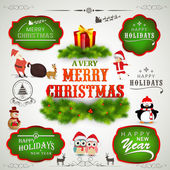 Typographic, label or sticker collection for Christmas and New Year. — Stock Vector