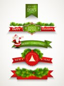 Merry Christmas and Happy New Year celebrations concept. — Stock Vector