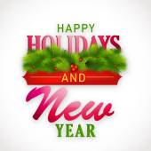 New Year and Happy Holidays celebrations poster design. — Vetor de Stock