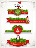 Merry Christmas, Happy New Year and Happy Holidays celebrations. — Stock Vector