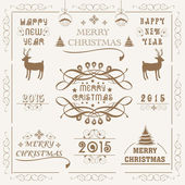 Merry Christmas and New Year 2015 celebration with ornament. — Stock Vector