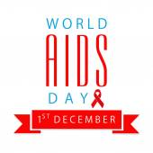 World Aids Day poster design with red aids ribbon. — Stockvektor