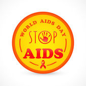 Badge, sticker or label for World Aids Day with red aids awarene — Stock Vector