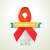 Aids awareness concept with red ribbon for World Aids Day. — Stock Vector
