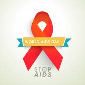 Aids awareness concept with red ribbon for World Aids Day. — Vecteur