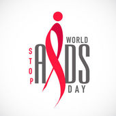 World Aids Day concept with red ribbon of aids awareness. — Stock Vector