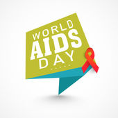 Tag or label with red aids ribbon for World Aids Day. — Wektor stockowy