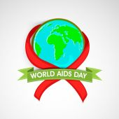 World Aids Day concept with awareness ribbon. — Stock Vector