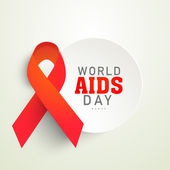 Sticker or label with red aids ribbon for World Aids Day concept — Stock Vector