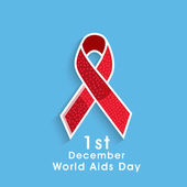 Concept of World Aids Day with awareness ribbon. — Stock Vector