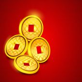 Concept of Chinese coins. — Stockvektor