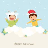 Merry Christmas celebration with little cute kids. — Stock Vector