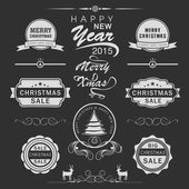 Merry Christmas Happy New Year celebration concept. — Stock Vector