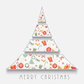 Creative X-mas Tree for Merry Christmas celebrations. — 图库矢量图片