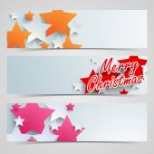 Merry Christmas celebration website header or banner set. — Stock Vector