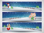 Website header or banner set for Merry Christmas celebration. — Stok Vektör