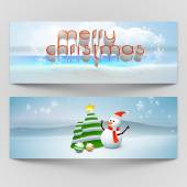 Merry Christmas celebration header or banner set. — Stock Vector
