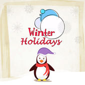 Winter holidays poster with penguine. — Stock Vector