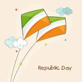 Indian Republic Day celebration with kites. — Stock Vector
