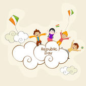 Cute kids enjoying and celebration on occasion of Indian Republic Day. — Stock Vector