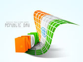 Glossy 3D text of India with creative national flag. — Stock vektor