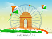 Ashoka wheel, india gate and kites for Indian Republic Day celebrations. — Stock Vector