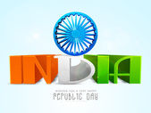Indian Republic Day celebration with beautiful text and Ashoka Wheel. — Stockvektor
