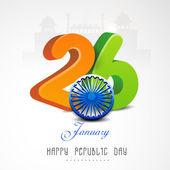 Indian Republic Day celebration with beautiful text and Ashoka Wheel. — Stockvector